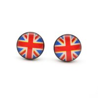 Wholesale Union Pins - New Arrival UK Motifs Ear Stud Earrings Ear Nail PIN 316l Stainless steel10mm No Fade No Allergies Union Jack Fashion Jewelry