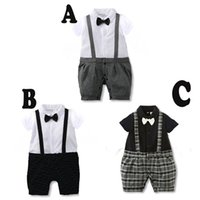 Wholesale Wholesale Fake Clothing - Baby Boys Fake Two-pieces Short Sleeve Romper Baby Suspender Trousers Tops Overalls Kids Clothing Sets New arrival