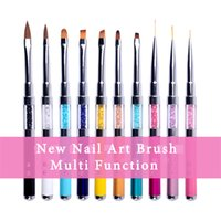 Wholesale Touch Screen Nails - New Nail Art Brush Pen Rhinestone Metal Acrylic Handle Screen Touch Infrared Lamp Carving Powder Gel Liquid Salon Liner 2017
