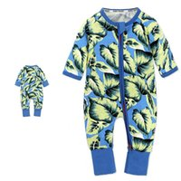 Wholesale Long Sleeve Cotton Zippered - Baby Rompers Jumpsuits Gilrs Boys Sleepsuit Bodysuit 2017 Cotton Leaf Printed Long Sleeve Long Pants With Zippered Jumpsuit X135