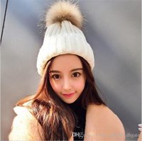 Wholesale Bonnets Women - 2016 hot sell fashion brand Winter Warm Knitted hats for women ball Solid Beanies skullies fur pompoms outdoor bonnet hat for unisex caps