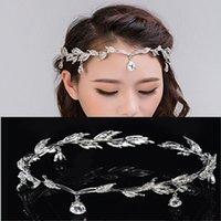 Wholesale Diamond Frontlet - Crystal Crown Bridal Hair Jewelry Accessory Wedding Rhinestone Waterdrop Leaf Tiara Crown Headband Frontlet Bridesmaid Jewelry