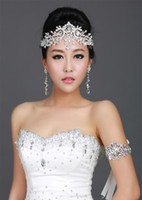 Wholesale Diamonds Bridal Headpieces - Trendy Wedding Bridal Headpieces Crystal Rhinestone Diamond Forehead Hair Accessories Tassel Headband Crown Tiara Princess Headpiece Silver