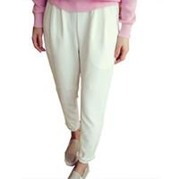 pantalon harem blanco mujer al por mayor-2016 Nuevo Verano Casual Pantalones Harem Pantalones de Mujer Cintura Elástica Suelta Mujer Negro Blanco