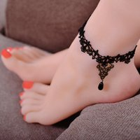 Wholesale Anchor Ankle Bracelet - New Arrival Personalized Anklets Metal Charm Black Beaded Lace Ankle Bracelets Retro Gothic Lolita Lace Jewelry Accessories for Women 7197