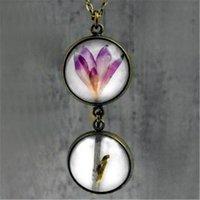 amante de la naturaleza al por mayor-12 piezas delicado collar colgante doble con flor de lobelia real de color púrpura. Joyas para amantes de la naturaleza, regalo para ella.