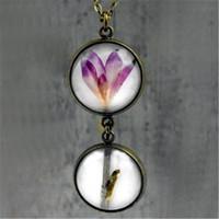 ingrosso amante del fiore viola-Collana pendente doppio delicato 12pcs con fiore di lobelia viola reale. Gioielli per gli amanti della natura, regalo per lei.