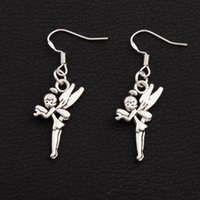 Wholesale Fairy Ears - Tinker Bell Fairy Earrings 925 Silver Fish Ear Hook 30pairs lot Antique Silver Chandelier E130 15x42mm