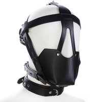 Wholesale Bondage Ball Gag Head Harness - Adult Studded Genuine leather or Faux leather Head Harness Muzzle Gag with Neck Strap Sex Bondage Fetish Restraint Face Mask Punk Hoods