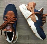 Wholesale Custom Shoe Boxes - Huarache ID Custom Breathe Running Shoes For Men Women,Woman Mens navy blue tan Air Huaraches Multicolor Sneakers Athletic Trainers with box