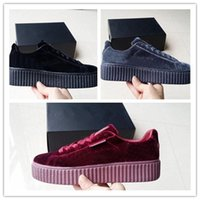 Wholesale Suede Shoes Casual Woman - 2017 New Velvet Rihanna x Suede Creepers Rihanna Creeper Running Shoes Grey Red Black Women Men Fashion cheap Casual Shoes sneakers