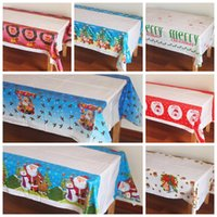 Wholesale Tablecloth Print Designs - Disposable Merry Christmas Rectangular Printed PE Tablecloth Christmas Festival Decorations Party Table Runner 7 design KKA3043