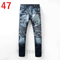 Wholesale Jeans Sizes 28 - Men's Distressed Ripped Biker Jeans US Size 28~42 Slim Fit Motorcycle Biker Denim For Men Brand Designer Hip Hop Mens Jeans