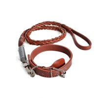 Wholesale Led Track Set - 5Q Set Pet Dog PU Leather Leashes Lead Rope For Large Dogs Outdoor Walking Tracking Pet Dog Collar Leashes