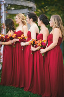 Wholesale Greek Silver Bridesmaid Dresses - New 2016 Burgundy Bridesmaid Dresses Long Beautiful Sweetheart Neck Chiffon Greek Goddess Dress vestido de novia