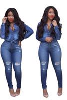 Wholesale Jumpsuits Longo - Wholesale- Adogirl Jeans Longo Rompers Sexy Women Long Sleeve High Waist Ripped Denim Buttom Bodysuit Autumn 2 Piece Jeans Jumpsuit