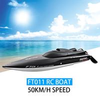 barcos rc cool al por mayor-Venta al por mayor-2016 NUEVO Fei Lun FT011 RC Barco 50 km / h de velocidad con motor sin escobillas Sistema incorporado de enfriamiento por agua Professional Racing RC Boat