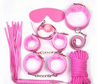 Wholesale Pink Whips - Sex Bondage Kit Set 7 Pcs Sexy Product Set Adult Games Toys Set Hand Cuffs Footcuff Whip Rope Blindfold Couples Erotic Toys