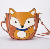 New 2017 Lovely Cartoon Fox Women Messenger Cartoon Sacos de alta qualidade Sweet Women Leather Handbags Campus Trendy Shoulder Bags Women Bag