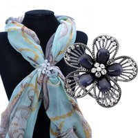 Wholesale Flowers For Clips - Wholesale- Hot Sale Fashion Scarf Clasp Buckle CZ Diamond Gun Black Flower Scarf Jewelry Clips Brooch For Ladies Girl Gift Accessory