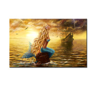 Wholesale Ghost Painting - 1 Picec Mermaid Paintings Wall Art Beautiful Princess Sea Mermaid with Ghost Ship Print On Canvas For Home Decoration No Framed