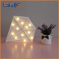 Wholesale Diamond Drops Decorations - 2017 White Diamond Shaped LED Night Light Children Cute Marquee Sign Night Lamp Bedroom Decoration Light