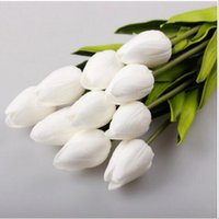 ingrosso decorazioni di nozze tulipani-Materiali eco-FriendlyParty 100pcs PU fiori Tulipani in lattice artificiale Bouquet tocco reale Fiori per la decorazione domestica Wedding Flowers