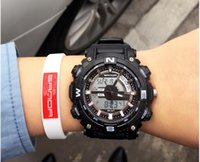 Wholesale Ess Red - Free shipping New SANDA ESS Men's Black Multi-Functional Dual Dial Resin Rubber Luxury Sport Watch 743--1