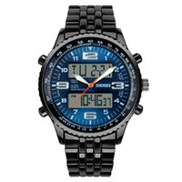 Wholesale Stainless Steel Back Water Resistant - Outdoor Sport Watch Men Alarm Chrono Calendar Dual Display Wristwatches Waterproof Army Back Light Quartz Watches Drop Shipping