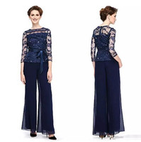 costumes de pantalons mariés de mère marine achat en gros de-Elegant Navy Blue Mother Of The Bride Applique Pant Chaussettes Sequined Plus Size 2017 Robe Mère Mariée avec Sheer Jewel Neck