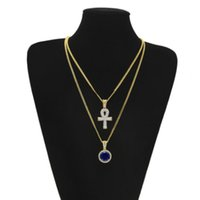 2 in1 Gold Plated Ankh Egyptian Key Rhinestone Crystal Cross Pingente Pingente Colar + Blue Ruby Pendant Necklace Jóias Set Men Hip Hop
