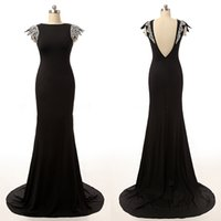 Real Picture Black Evening Dresses Custom Made Hot Sale Sequins tapados Jewel Satin Backless Open Back Moda Long Prom Gown Imagens reais
