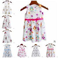 Wholesale Owl Tutu - Print Dresses Girls Floral Ice Cream Owl Printed Dress Sleeveless Bowknot Summer Causal Dresses Kids Cotton Party Wedding Clothing J372
