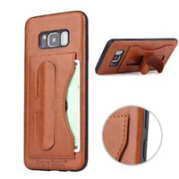 Wholesale Iphone Leather Case Car - Kickstand PU Leather Case With Card Slot Magnetic Suction Car Mount Case For Samsung S8 Plus Iphone X 8 7 Plus With Retail Package