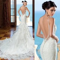 Wholesale Detailed Sweetheart Mermaid Wedding Dress - 2017 New Beautiful Backless Wedding Dress Sweetheart Lace Mermaid Gown With Beaded Straps Low Back With Ruffled Skirt Detail
