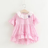 Wholesale Pink Lotus Clothing Wholesale - Everweekend 2017 Girls Asymmetric Ruffles Plaid Dress with Flower Sweet Baby Lotus Leaf Collar Pink and Blue Color Summer Holiday Clothing