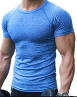 Wholesale Men Under Vest - 2017 Mens Gyms Clothing Fitness Compression Base Layers Under Tops T-shirt Thermal Tees Top High Flexibility Skins Gear Wear Sports Vest