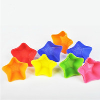 Wholesale bread pudding resale online - Silicone Cake Mould Five pointed star Candy Color Multi Function Baking Tools Egg Tart Bread Pudding Cake Mold qt C R