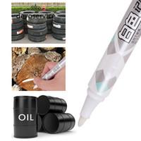 Wholesale Glass Pen Marker - Wholesale- Portable White Permanent Marker Pens Chalk Blackboard Glass Window Car Tyre Tire Tread Rubber Metal Pens Office School Supplies