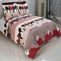 Wholesale Coverlet Red - luxury mickey style Children cartoon bedding set 3pcs set spring bed sheet coverlet Home textile
