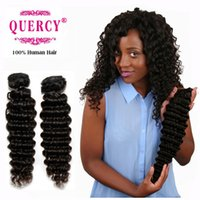 Wholesale Chinese Processed Remy Hair - 9A Brazilian Peruvian Malaysian hair weave 100% virgin remy human hair bundles double weft natural color deep wave dyeable Quercy Hair