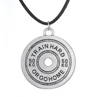 Wholesale Hard Rope - Rope\Snake Chain Train Hard or Go Home Barbell BB MAN antique silver plated train hard or go home inspirational barbell Necklace