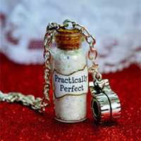 Wholesale Gifts Tape - 12pcs Practically Perfect Mary Poppins Magical Magical glass Bottle Necklace with a Tape Measure Charm Inspired necklace