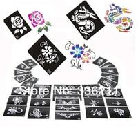airbrush temporäre tattoos kits großhandel-Wholesale-60pcs mischte 66styles Glitter-Tätowierungsschablone Körper-Malereientwurf Airbrush temporäre Tatoo-Ausrüstungsschablone liefert freies Verschiffen