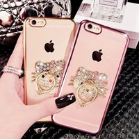 Cell Phone Ring Holder casos Bling Diamond Kickstand casos Crystal TPU tampa para iPhone 7 Iphone 6 6s 7 mais nota S7 edge5