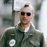 ingrosso occhiali da sole ao-Brand New Army MILITARE AO americano occhiali da sole ottici James Bond uomini in oro 12 carati quadrati caravan cristallo verde lente occhiali da sole