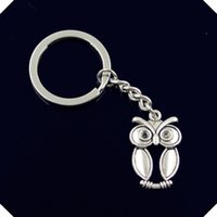 nuovo-fashion-men-30mm-keychain-DIY-metal-holder-catena-vintage-grande-occhi-gufo-30-19mm-chiave d'argento d'argento