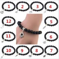 Wholesale 12 Strand - 12 designs Lava Stone Diffuser Jewelry Natural Volcanic Rock Charm Bracelets Prayer Beads Bracelet R017