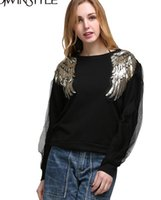 Wholesale Korean Clothes For Winter - Black Pullover Sweater for Women Winter Female Knitted Tops Long Sleeve Sequins Wing Knitting Clothes Korean 2017