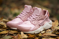Wholesale Pearl Running - Huarache Run Premium Running Shoes Huaraches PRM Leather Trainers Sports Sneakers Pink Glaze Pearl Pink Sail Gum Medium Brown 36-40
